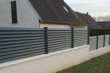 Cloture aluminium lames inclinees jouy sous thelle