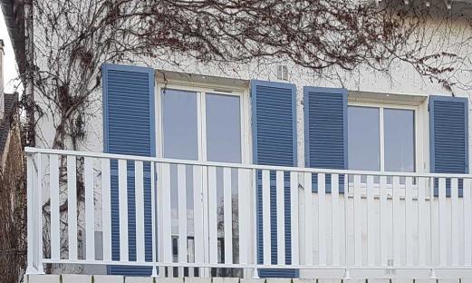Garde corps balcon alu blanc breiz lames verticales chambourcy 78