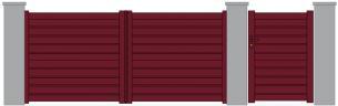 Kuzh portail portillon persiennes rouge 3004