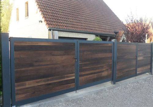 Portail aluminium bois gris