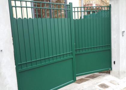 Portail barreaux festonnage vert double traverse chaville 93