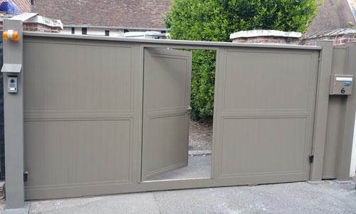 Portail coulissant aluminium portillon integré a2p tuquet - 60590 Villers sur Trie
