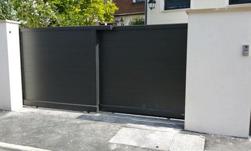 Portail coulissant télescopique motorise noir a2p tuquet - Yvelines 78