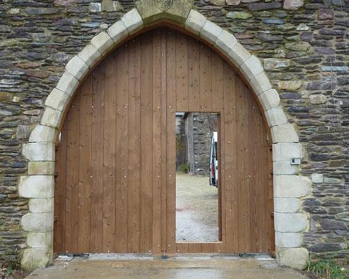 Porte cochere bois portillon integre
