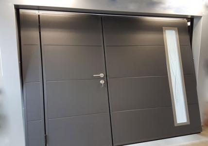 Porte garage basculante portillon hublot