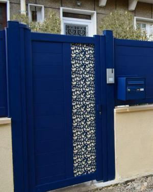 Portillon Brodiri tôle laser bleu garenne Colombes 92